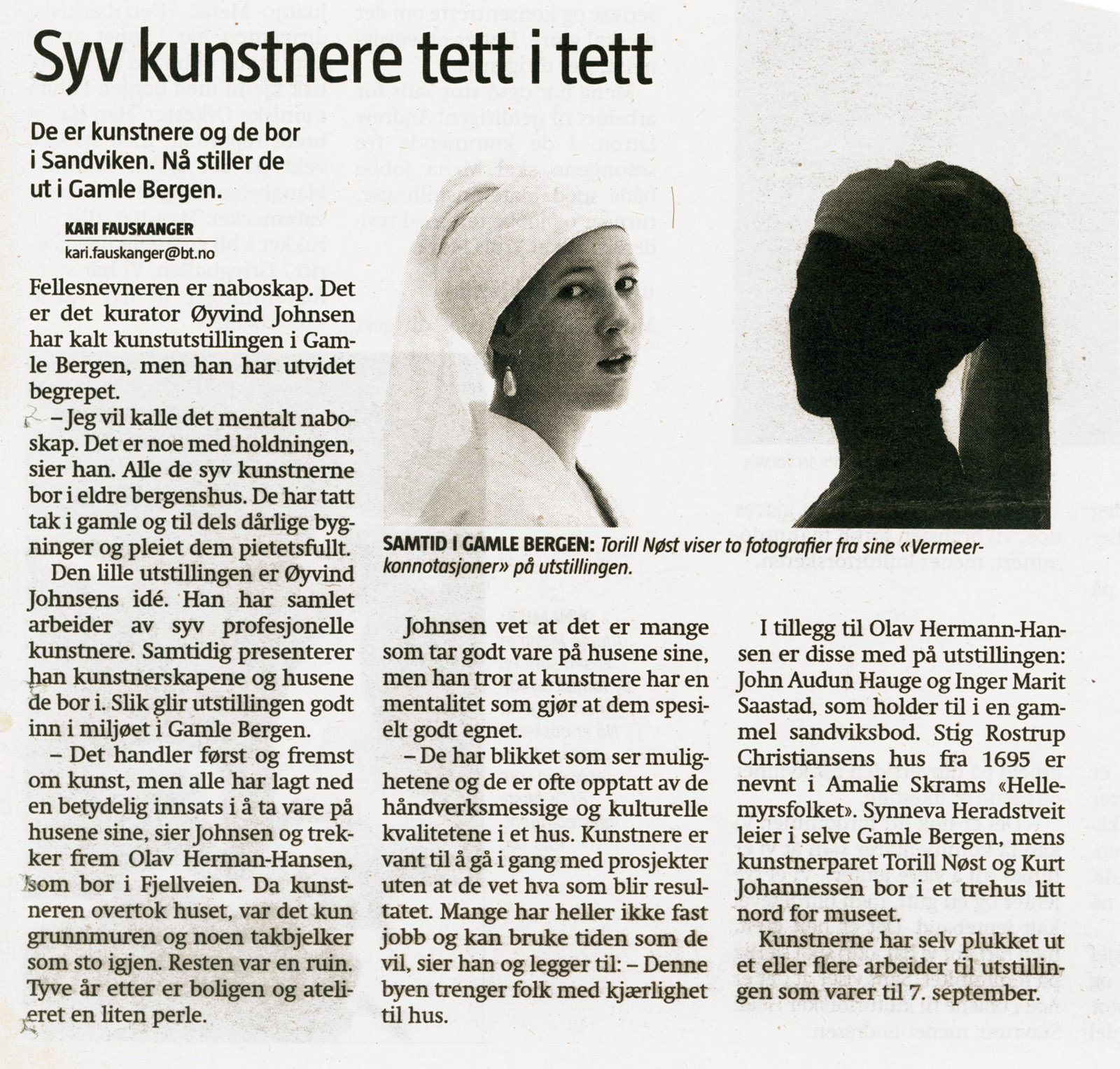 2008 newspaper article BT curated exhibition